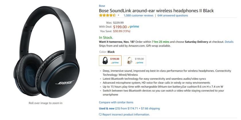 Deal: Grab the Bose SoundLink around-ear wireless headphones II for under $200