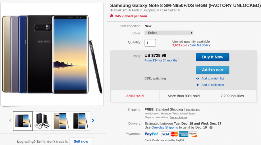 Deal: Get an unlocked dual-sim Samsung Galaxy Note 8 for $730 while you still can