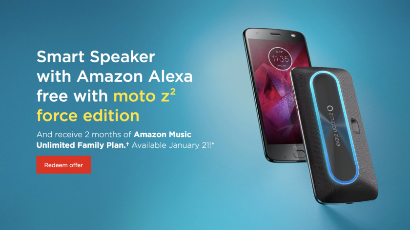 Deal: Buy the Moto Z2 Force, get two months of Amazon Music Unlimited and free Amazon Alexa speaker