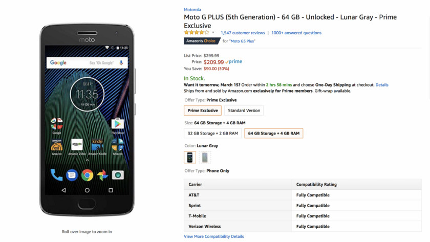 Deal: Get the Amazon Prime Exclusive Moto G5 Plus for $210 ($90 off)