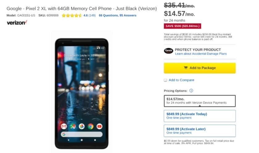 Google Pixel 2 XL Best Buy