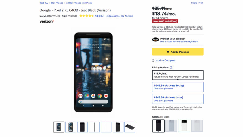 Deal: Best Buy offers the Pixel 2 XL for $400 off