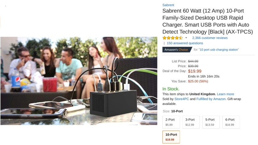 sabrent wall charger amazon listing sale