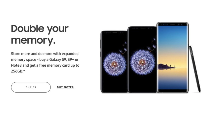 Samsung Galaxy S9, S9 Plus, Note 8 free microSD card offer