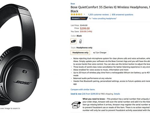 Deal: $50 off Bose QC35 II wireless headphones and QC30 earphones at Amazon