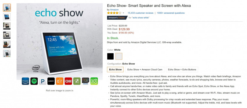 The Amazon Echo Show store page on Amazon