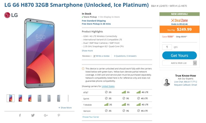 Deal: You have 9 hours to get an unlocked LG G6 for $250