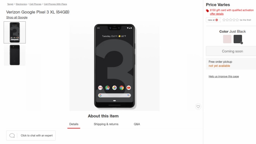 Deal: Activate the Pixel 3 on Verizon at any Target store, get a $150 Target gift card