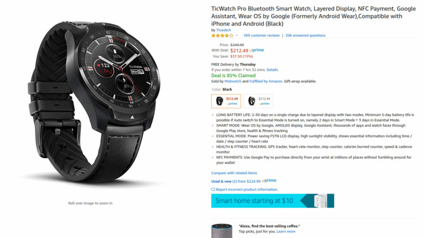 Deal: Grab the TicWatch Pro for $212 ($38 off) with a free TicBand from Amazon