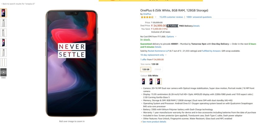 The OnePlus 6T product page on Amazon India.