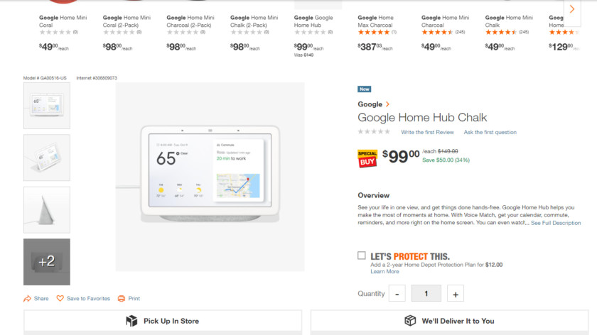 Deal: Get the Google Home Hub for $99 ($50 off) from Home Depot (Update: The sale is over)