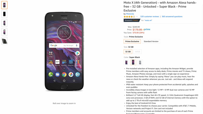 Deal on the Moto X4 Prime Exclusive version.