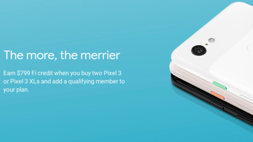 Deal: Get a $799 service credit if you buy two Pixel 3s on Project Fi