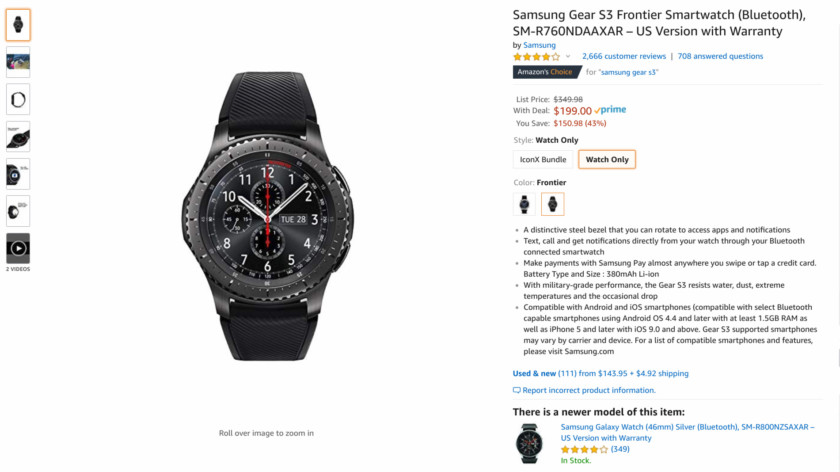 Deal: The Samsung Gear S3 Frontier is on Amazon for $200 (save $150)