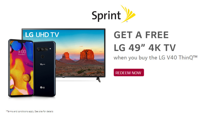 Sprint is offering a free 4K TV with an LG V40 purchase.