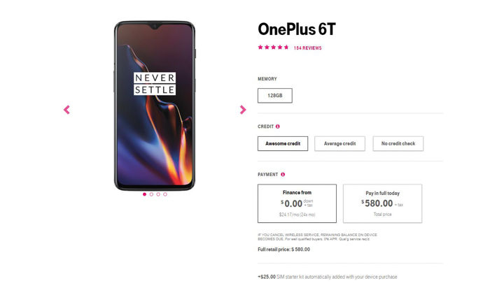 T-Mobile OnePlus 6T listing