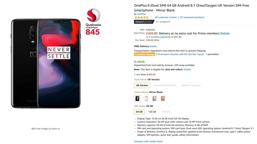 OnePlus 6 Amazon UK deal