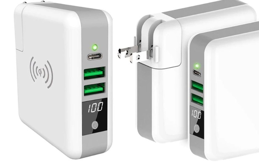 Three-Port Charger with Qi-Enabled Wireless Charger and Power Bank