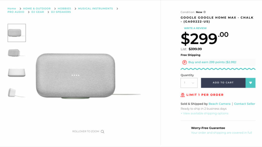 Deal: Get the Google Home Max for just $254 ($46 off)