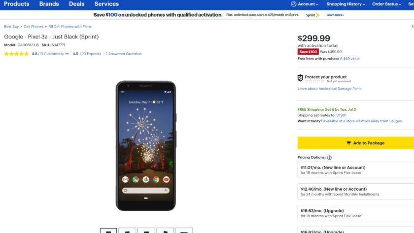 A screenshot of a Google Pixel 3a deal at Best Buy in June 2019.