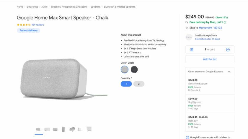 Screenshot of a Google Home Max deal on Google Express