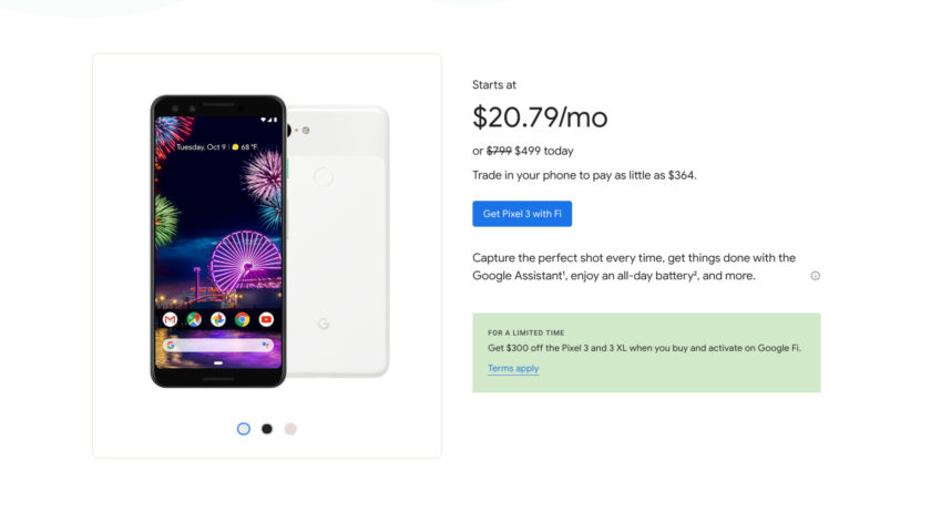 Google Fi deal on the Google Pixel 3 and Pixel 3 XL