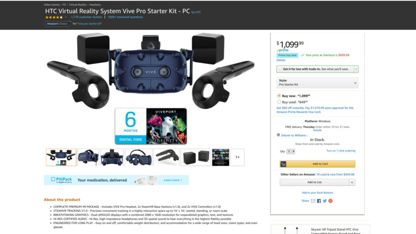 Amazon Prime Day deal on the HTC Vive Pro Starter Kit