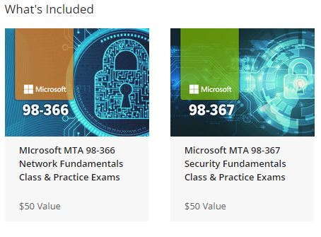 Microsoft Network and Security Fundamentals Certification Bundle - included