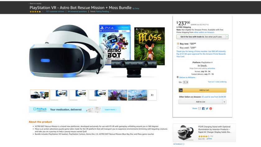 Amazon Prime Day deal on the PlayStation VR