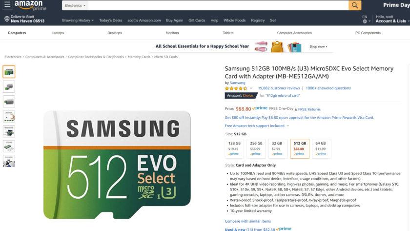 A screenshot of a Samsung 512GB microSD Card Deal.