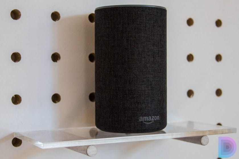 the amazon echo smart speaker on a stand