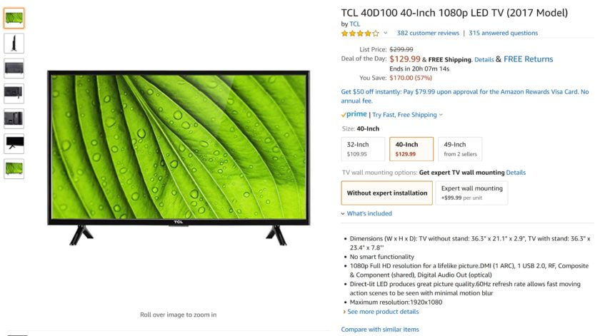 Amazon TCL 40-inch TV page.