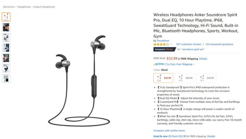 The Anker Soundcore Spirit Pro earphones.
