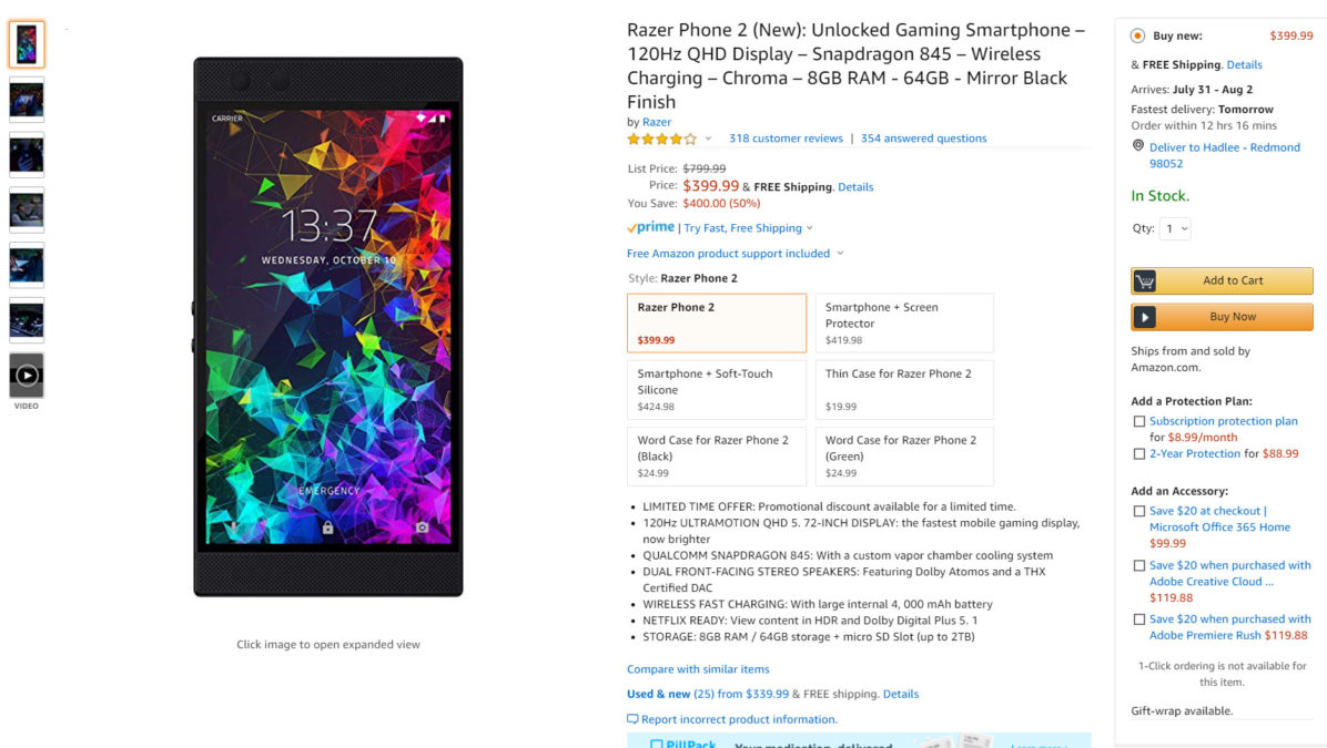 The Razer Phone 2 deal on Amazon.
