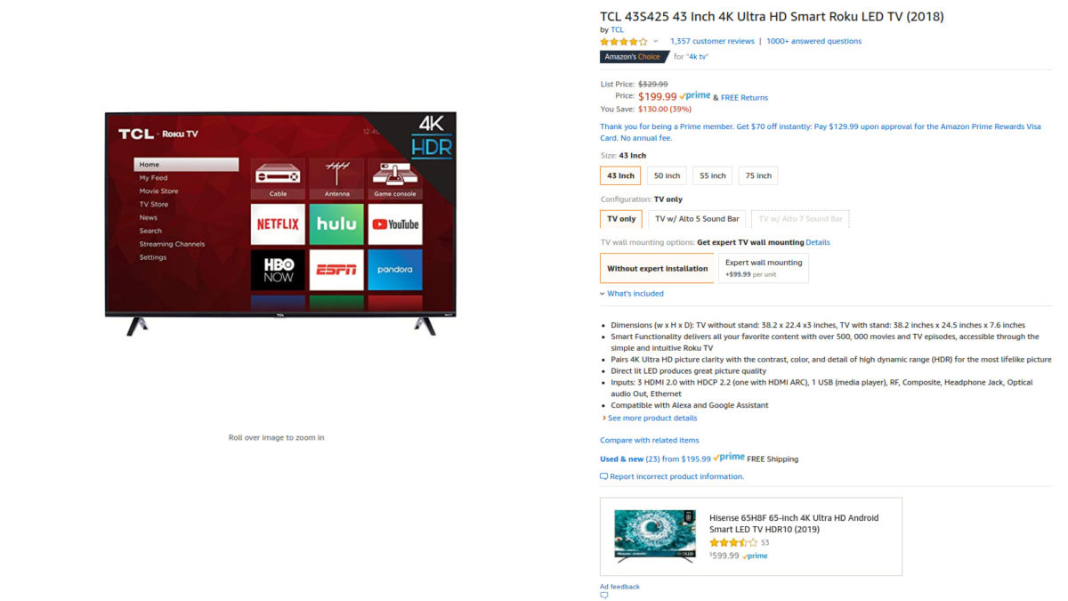 Amazon deal on the TCL 43 inch 4K Roku TV