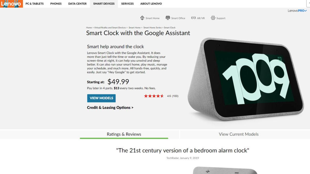 Lenovo Smart Clock Deal August 2019