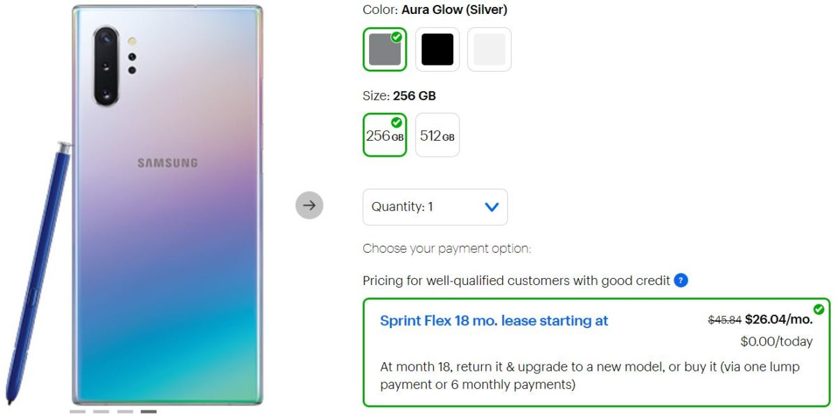 Samsung Galaxy Note 10 Deals on Sprint