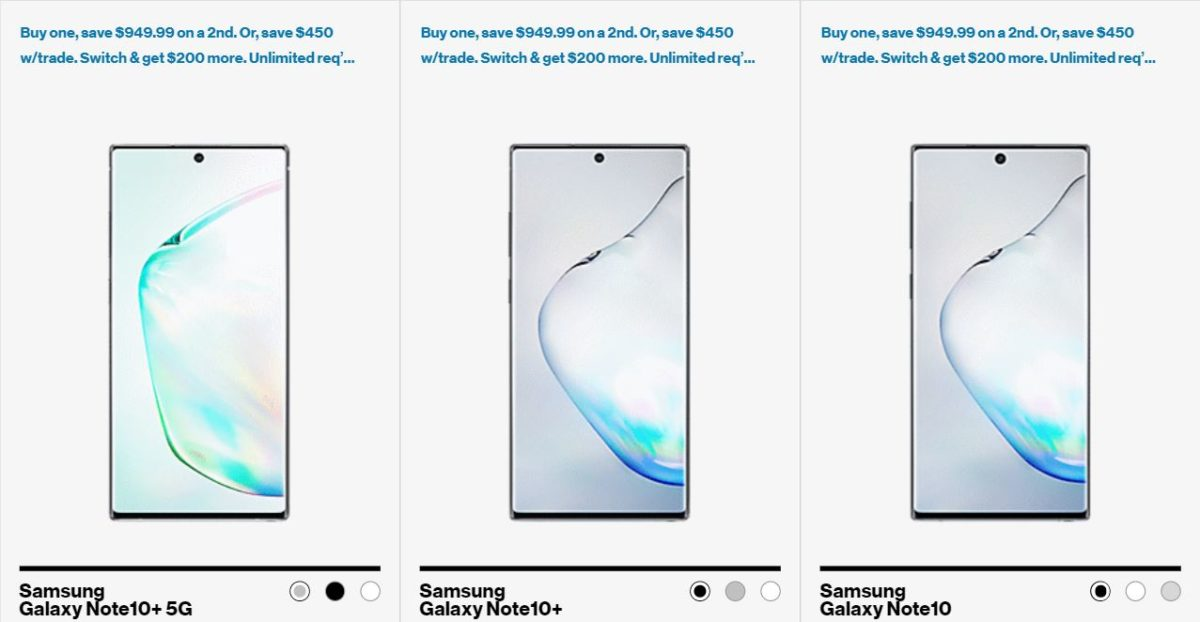 Samsung Galaxy Note 10 Deals on Verizon