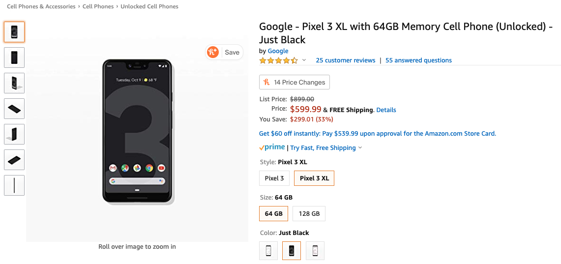 amazon deal google pixel 3 xl