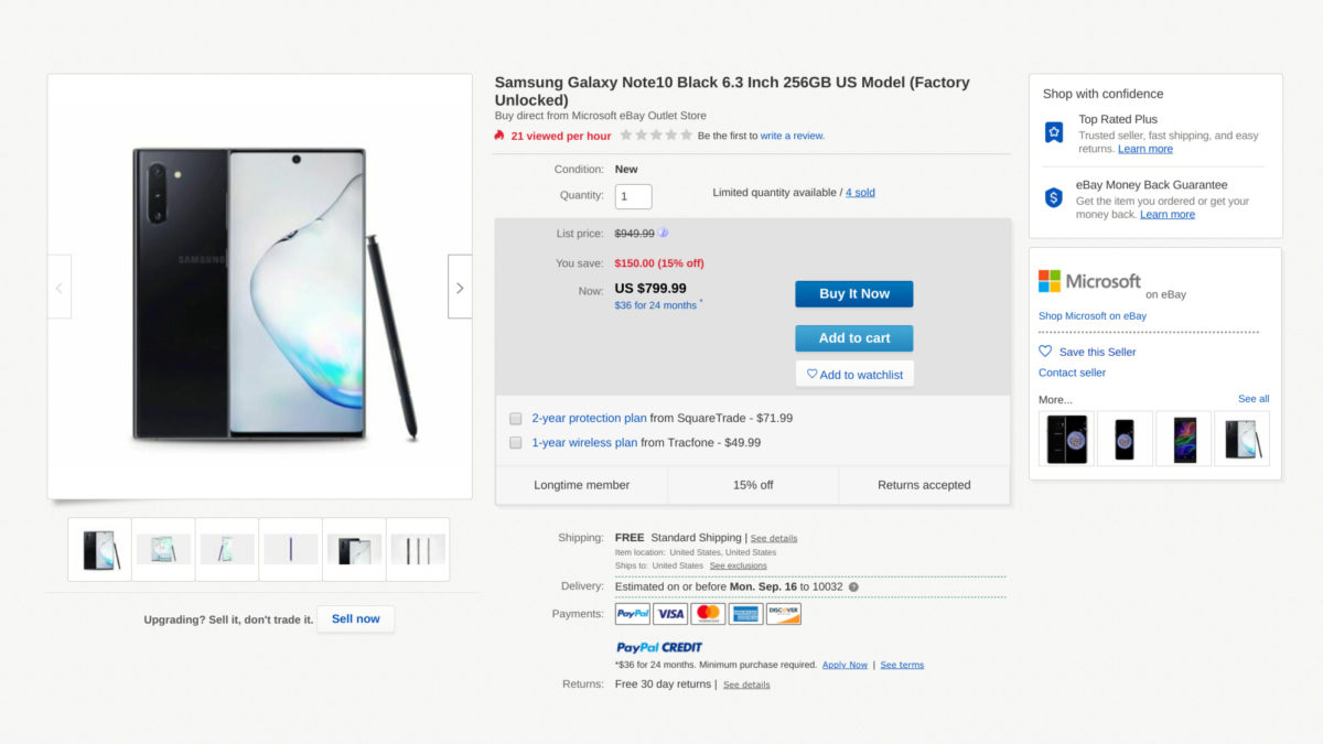 Deal on the Samsung Galaxy Note 10 on eBay