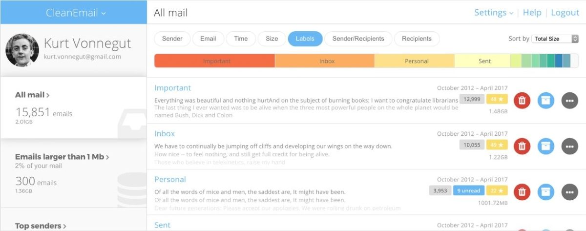 Clean Email User interface