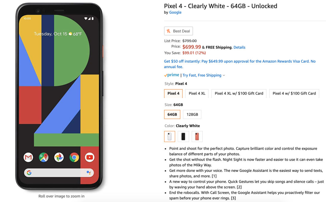 google pixel 4 deal amazon clearly white