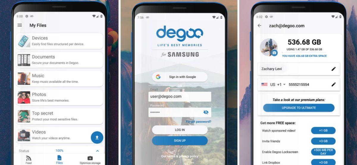 Degoo Cloud Storage Screenshots