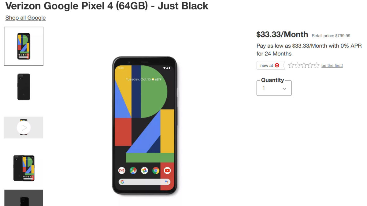 Target Pixel 4 Black Friday deal