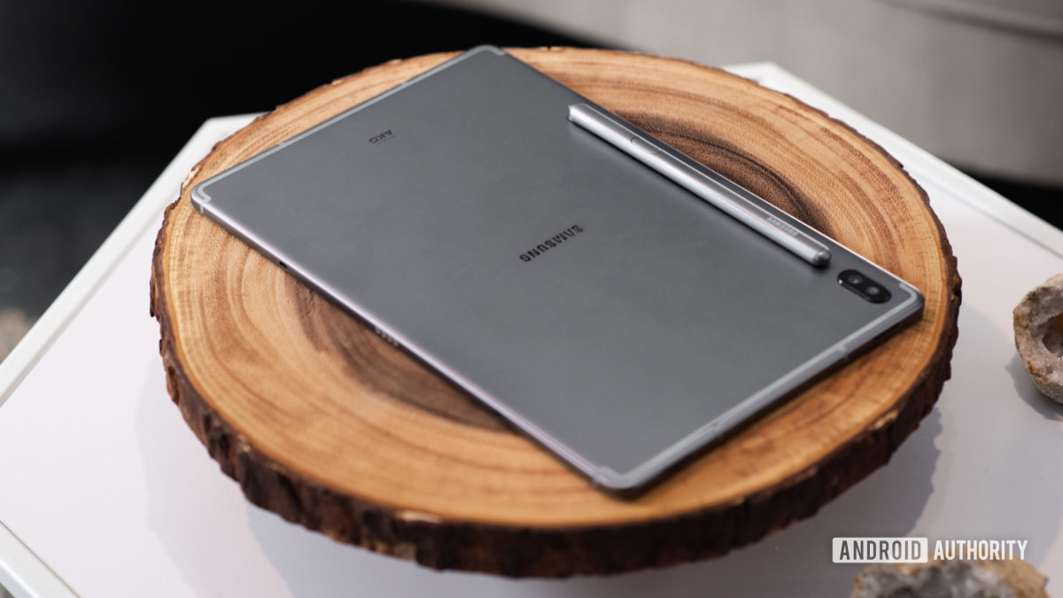 Samsung Galaxy Tab S6 on table with S Pen 2