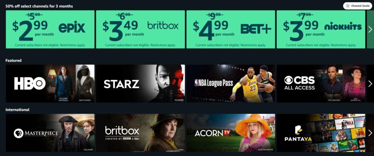 amazon prime video channel discounts
