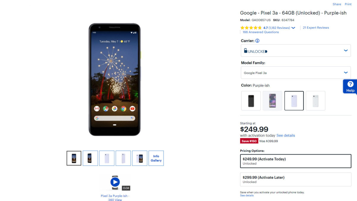 The Google Pixel 3a Best Buy listing.
