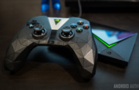 The Nvidia Shield TV console and controller.