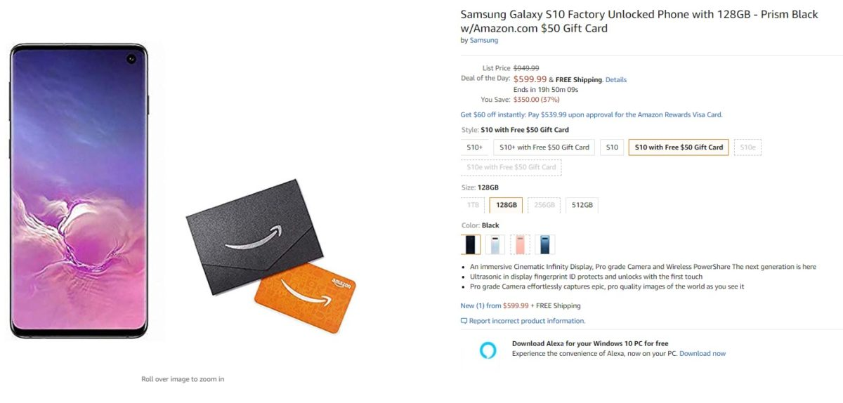 samsung galaxy s10 and gift card amazon