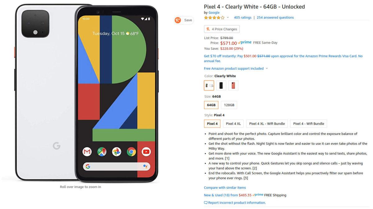 Google Pixel 4 Amazon sale page